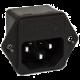 Conector Macho con Reborde Chasis  C14 10A 250V con Porta Fusible