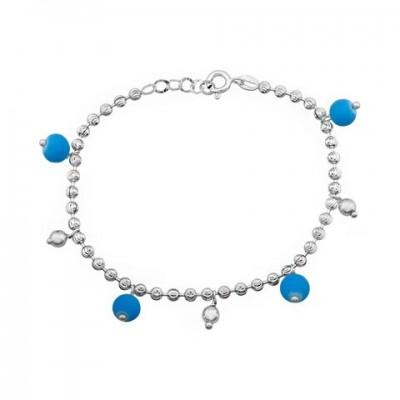7d292ac8c601 Pulsera Plata Bolas Azules 18 cms